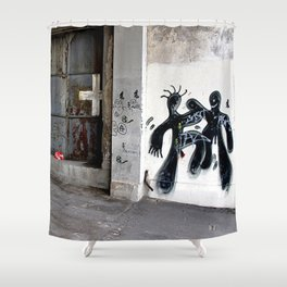 dark men dancing  Shower Curtain