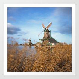 Traditional Dutch windmills at Zaanse Schans, Amsterdam, Netherland Art Print