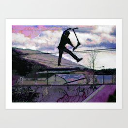 Deck Grab Champion - Stunt Scooter Art Art Print