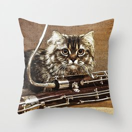 Music was my first love - cat and bassoon Throw Pillow