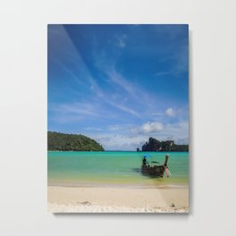 Thailand Beach with Fishing Boat Metal Print