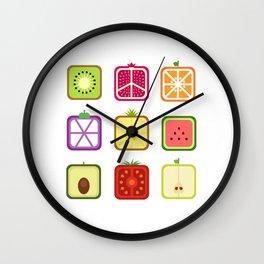 Squared Fruits Wall Clock