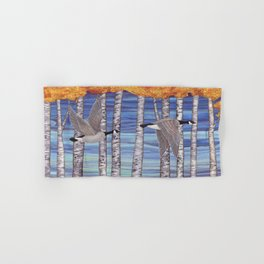 Canada geese, hedgehogs, and autumn birch trees Hand & Bath Towel