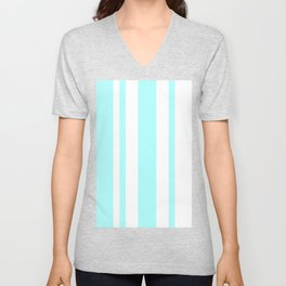 Mixed Vertical Stripes - White and Celeste Cyan Unisex V-Neck