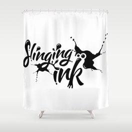 slinging ink - black Shower Curtain