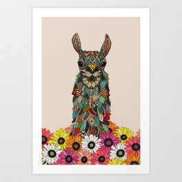 llama daisy love almond Art Print