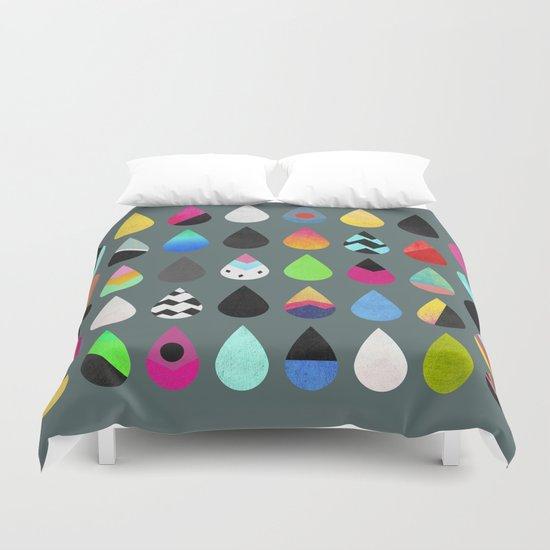 Colorful rain Duvet Cover