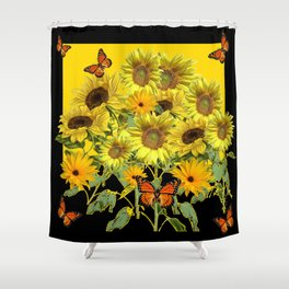 ORANGE MONARCH BUTTERFLIES IN SUNFLOWER FIELD Shower Curtain