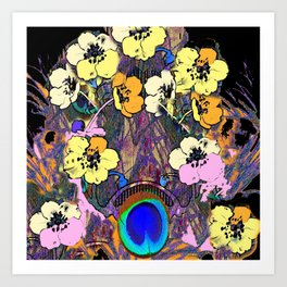 Decorative Modern Art Nouveau Peacock Floral Patterns Art Print