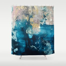 Timeless: A gorgeous, abstract mixed media piece in blue, pink, and gold by Alyssa Hamilton Art Shower Curtain