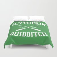 quidditch Duvet Covers featuring Hogwarts Quidditch Team: Slytherin by IA Apparel