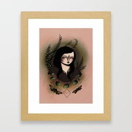 Girl With Moths Framed Art Print