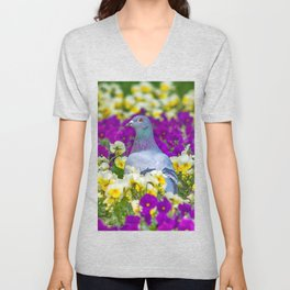 Pigeon and Pansies Unisex V-Neck
