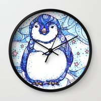 penguin Wall Clocks featuring Penguin by Kate Fitzpatrick