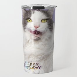 Happy Birthday Fat Cat In Party Hat With Cake Travel Mug