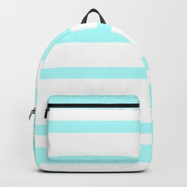 Mixed Horizontal Stripes - White and Celeste Cyan Backpack