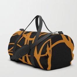 Orange lines on black background Duffle Bag
