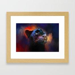 Colorful Expressions Black Leopard Framed Art Print