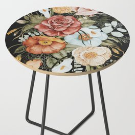Roses and Poppies Bouquet on Charcoal Black Side Table