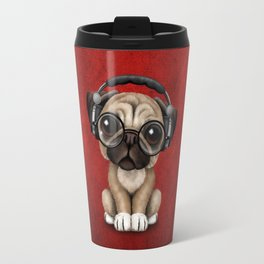 Cute Pug Puppy Dj Wearing Headphones and Glasses on Red Travel Mug