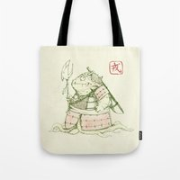 warrior Tote Bags featuring Warrior by Pigboom Art