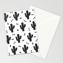 Geo Cactus in Black + White Stationery Cards