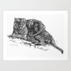 Tiger and Cub G023 Art Print