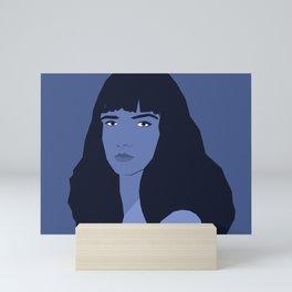 Blue woman portrait, abstract. Mini Art Print