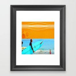 three surfers Framed Art Print