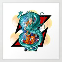 dbz Art Prints featuring DBZ - A Hero by Mr. Stonebanks