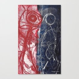Etching in blue and red Canvas Print