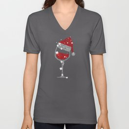 Red Wine Glass Christmas Tee Funny Santa Unisex V-Neck
