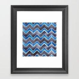 Chevrons - Black and Blue Framed Art Print