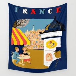 Vintage France Sidewalk Cafe Travel Wall Tapestry