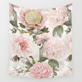 Vintage & Shabby Chic - Antique Pink Peony Flowers Garden Wall Tapestry