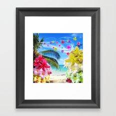 Tropical Beach and Exotic Plumeria Flowers Framed Art Print