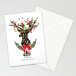 watercolor fashion Reindeer Stationery Cards