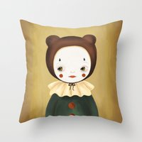 lucy Throw Pillows featuring Lucy by The Midnight Rabbit