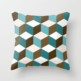 Cubes Pattern Teals Browns Cream White Throw Pillow