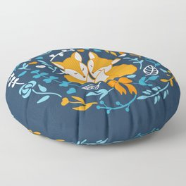 Foxes in love - Blue Floor Pillow