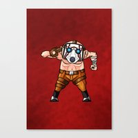 borderlands Canvas Prints featuring BORDERLANDS PSYCHO by DROIDMONKEY
