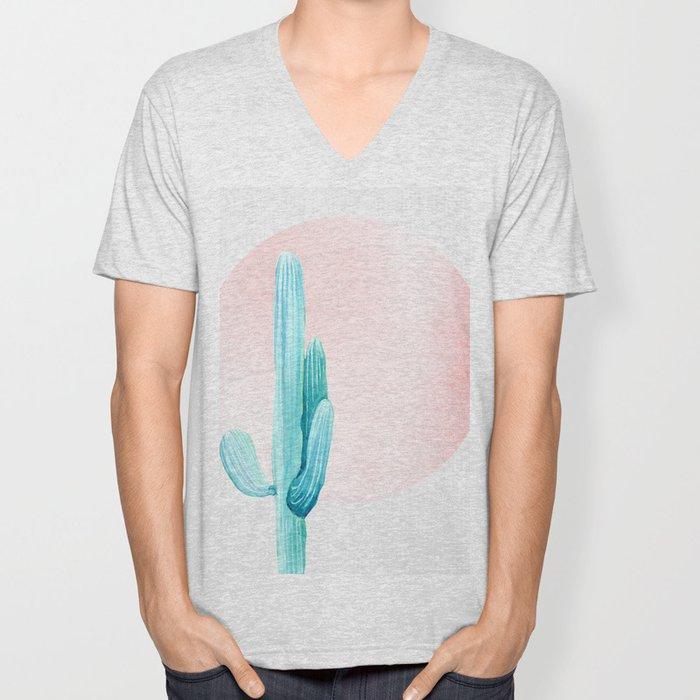 Desert Cactus Rose Gold Sun Unisex V-Neck