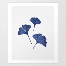 Blue Ginkgo Biloba Pattern Art Print