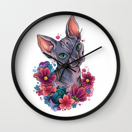 Neo Traditional Sphynx cat and flowers Wall Clock