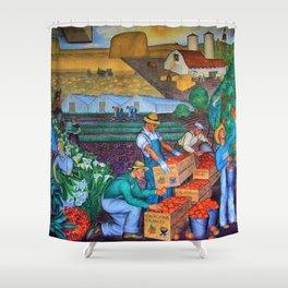 Orange Grove harvest portrait painting WPA mural Shower Curtain