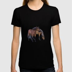 Horses in a misty dawn Black SMALL Womens Fitted Tee