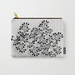 Black and Silver Floral Design Carry-All Pouch