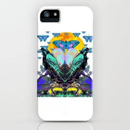 SURREAL BIRDS, BLUE BUTTERFLIES & GOLDEN MOON iPhone Case