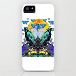 SURREAL BIRDS, BLUE BUTTERFLIES & GOLDEN MOON iPhone Case