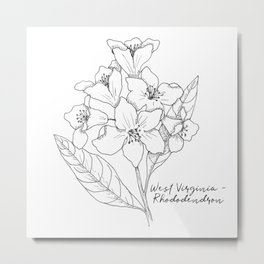 West Virginia Rhododendren State Flower By Journey Home Made Metal Print